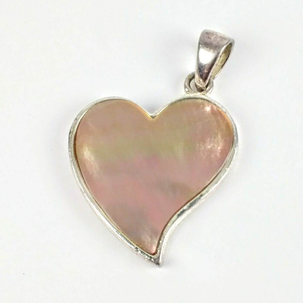 Sterling Silver 925 Su Thailand Mother Of Pearl Heart