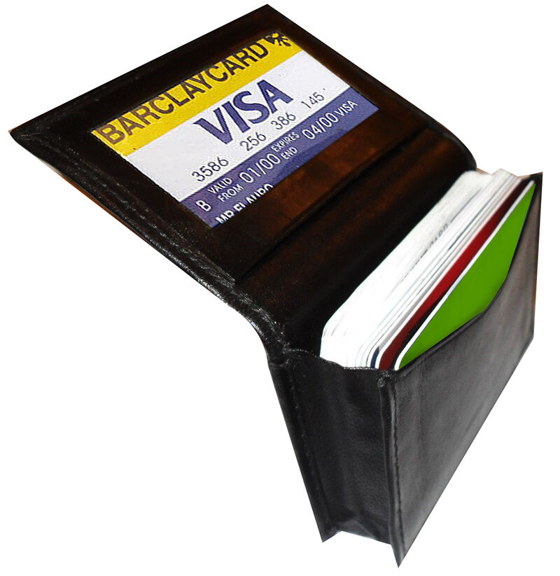 Black genuine leather expandable credit card id business for Black leather business card holder