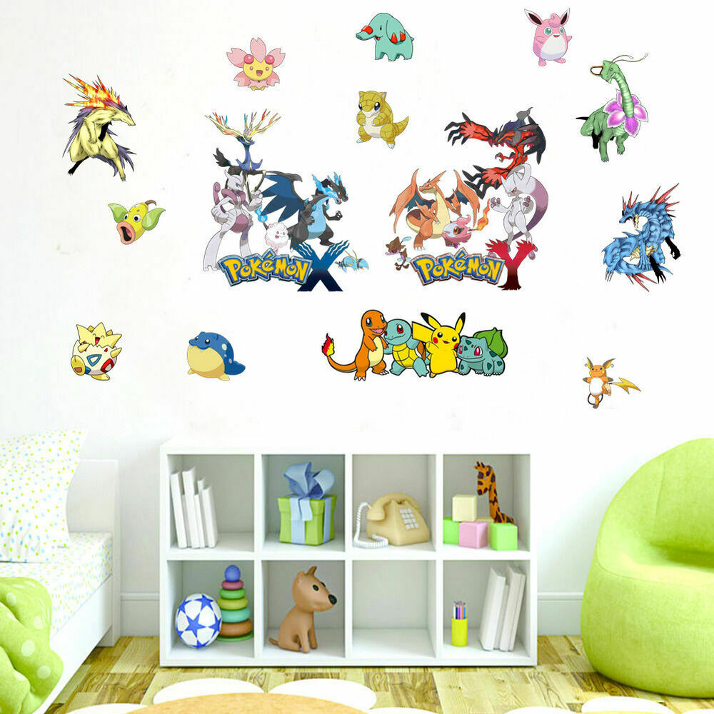 Pokemon collection wall stickers kids wall art game decal for Kids wall art