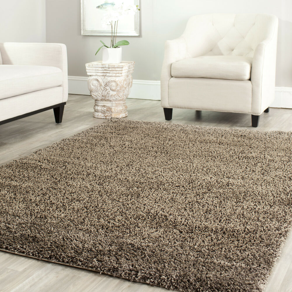 Power Loomed Solid Mushroom Shag Area Rug 8 X 10 Ebay