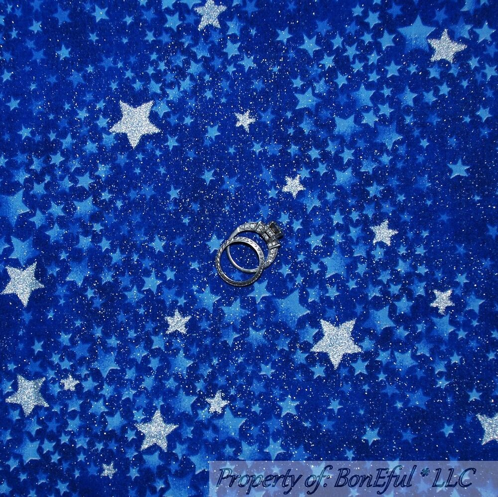 Boneful fabric fq cotton quilt blue silver s star night for Night sky material
