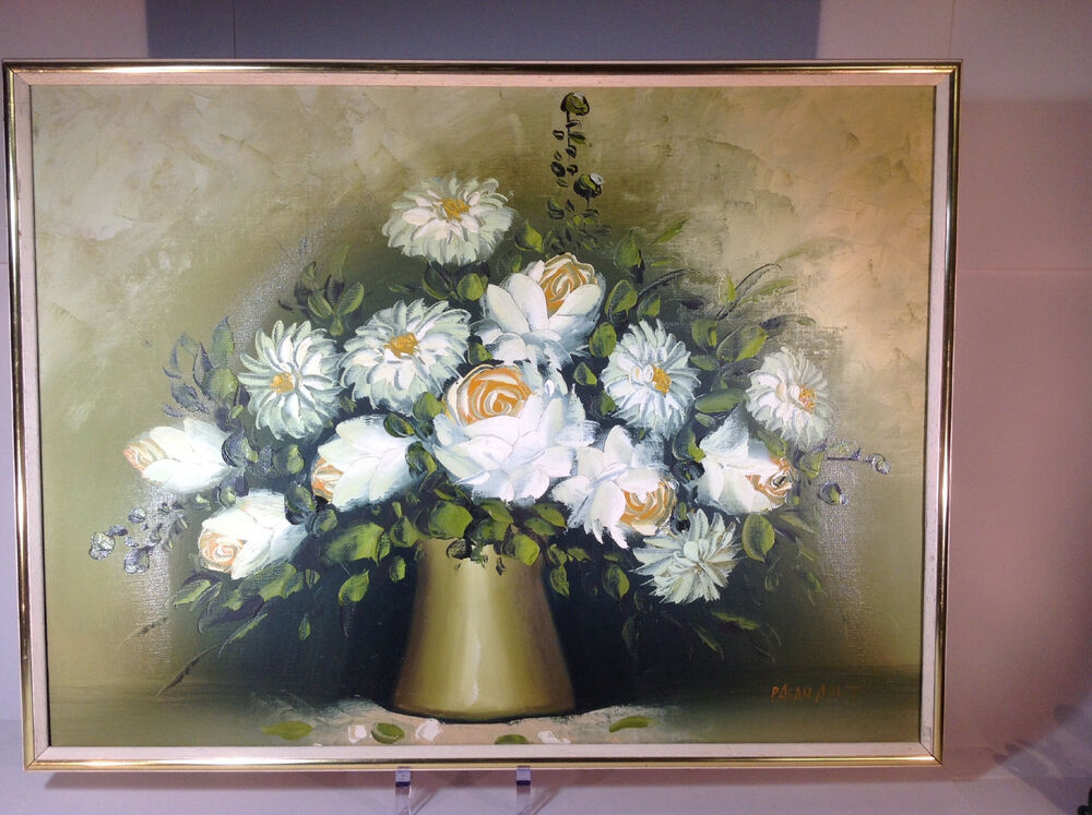 Vintage Floral Oil Painting of White Flowers in Vase by ...