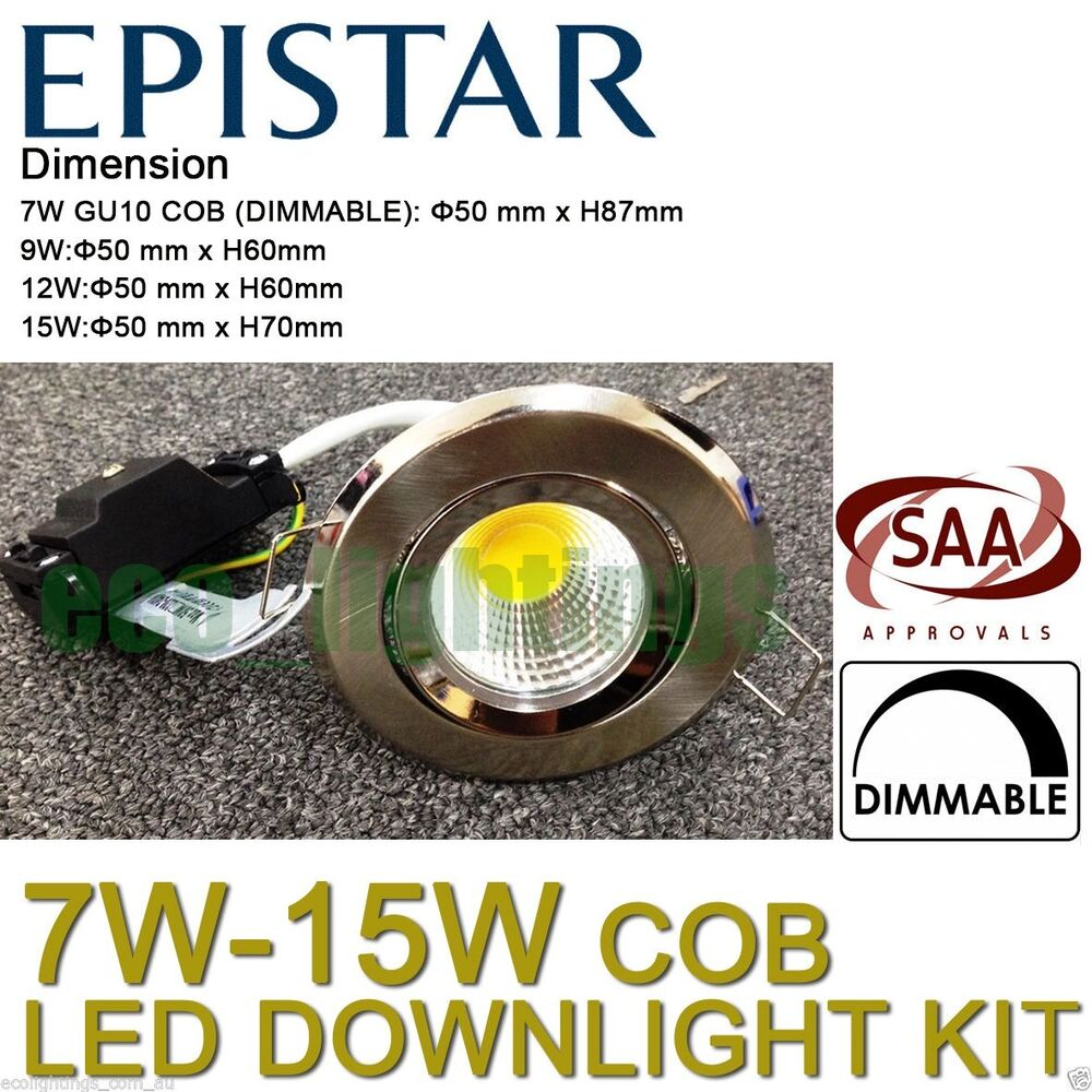 led downlight kit complete dimmable ceiling bulb warm cool white gu10 7w 15w cob ebay. Black Bedroom Furniture Sets. Home Design Ideas
