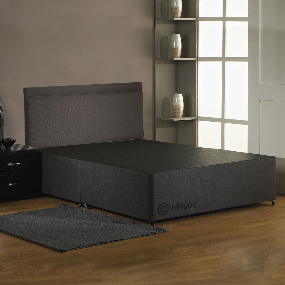 Hf4you fabric divan bed base charcoal black cream for Divan beds with headboard included