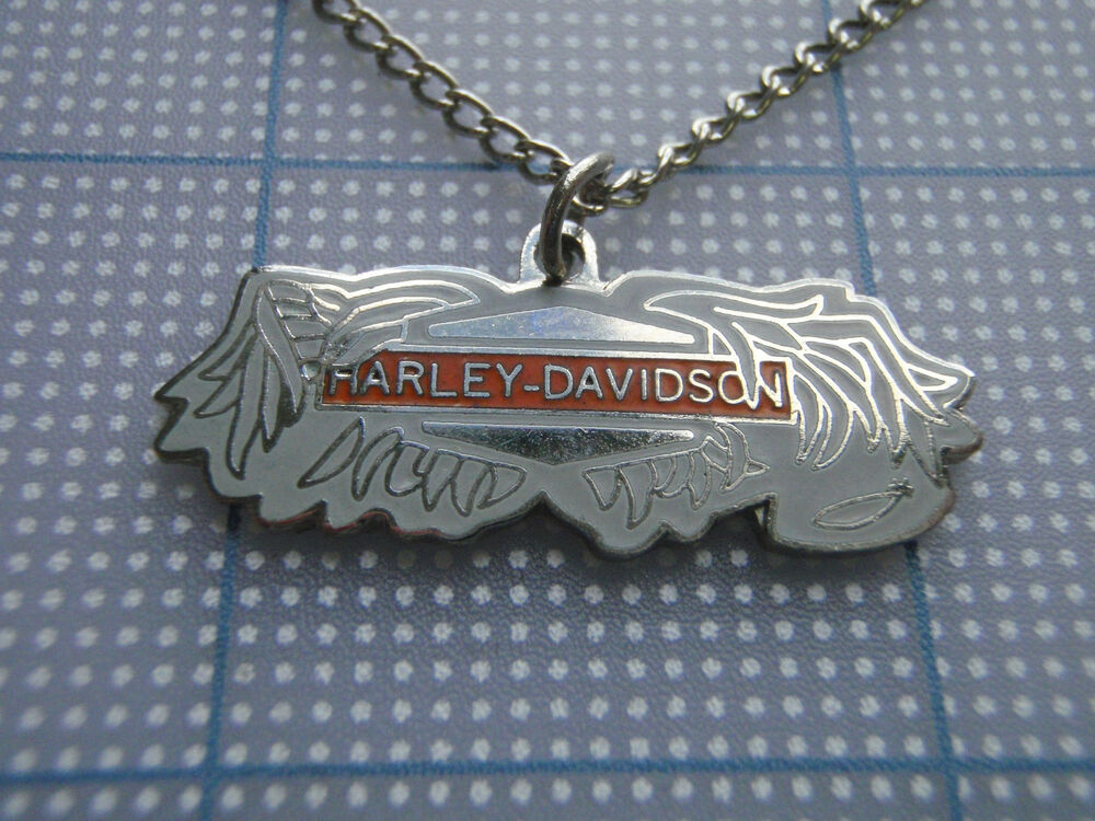 Vtg 80s harley davidson broken wings biker necklace orange for Harley davidson jewelry ebay