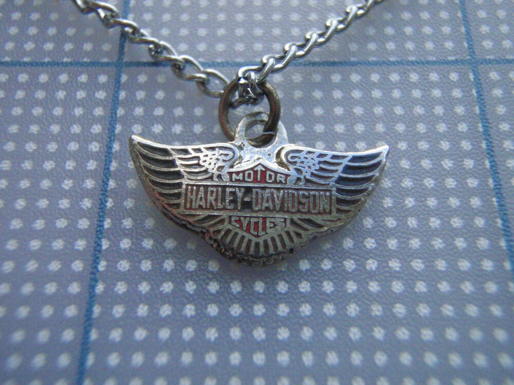 Vtg 80s harley davidson shield wings biker necklace red for Harley davidson jewelry ebay