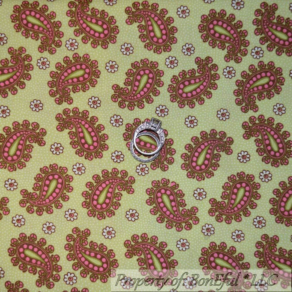 Boneful fabric fq cotton quilt vtg green pink brown white for Cotton quilting fabric