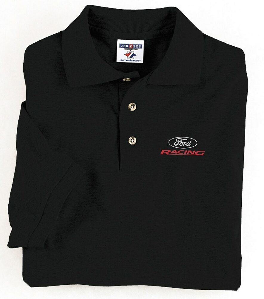 Ford Mustang Racing Stripe Design Blue Men S Size Tee: Mens Polo Style Collared Shirt Ford Racing Design Buttons