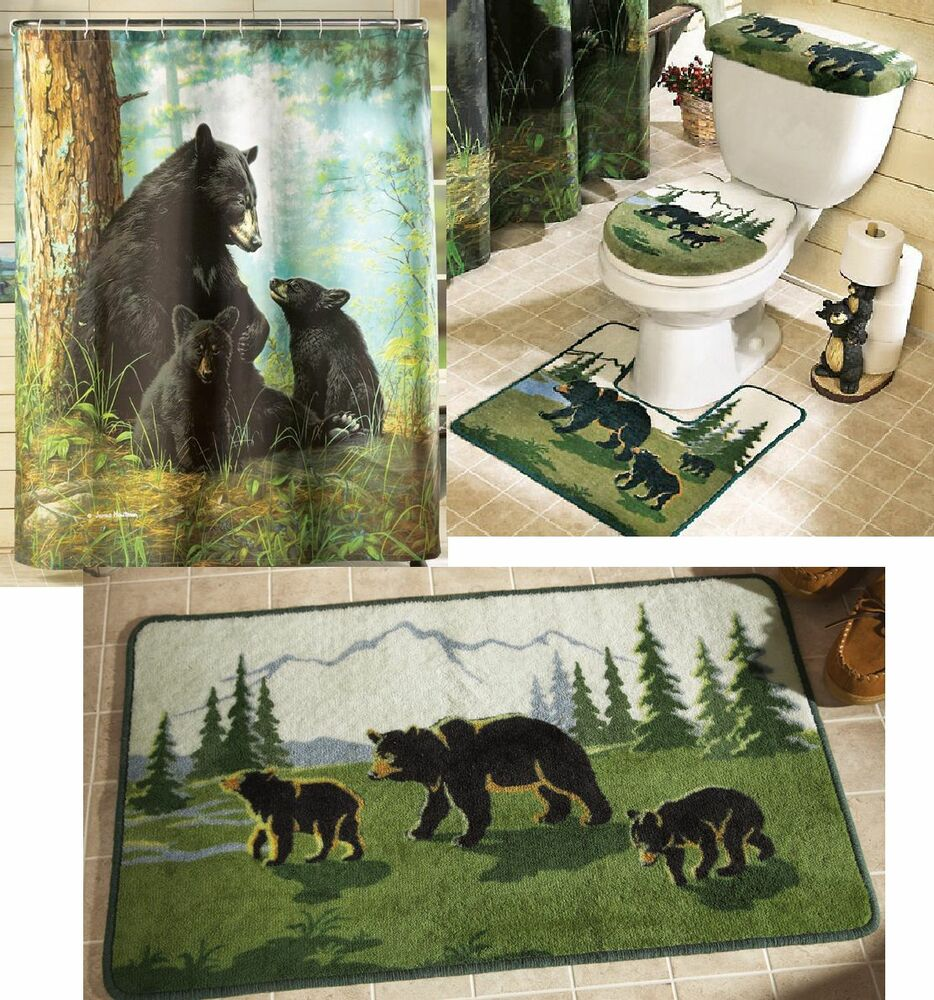 Northwoods Woodland Cabin Lodge Bear Shower Curtain Bath