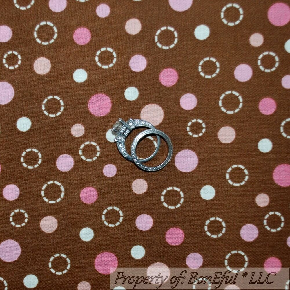 Boneful fabric fq cotton quilt brown pink off white polka for Baby girl fabric