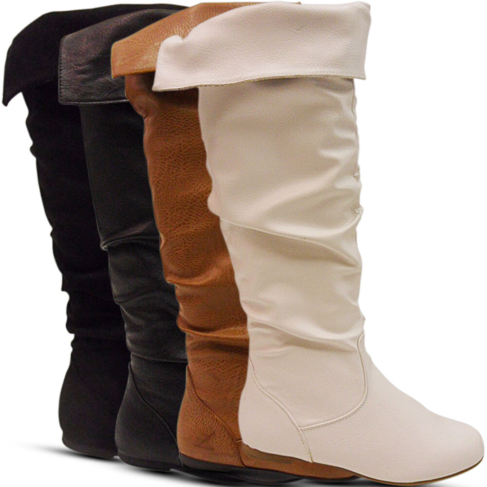 ad3bb911587 Details about NEW LADIES WOMENS FLAT KNEE HIGH OVER LONG BOOTS TURNOVER  PIXIE SLOUCH WINTER