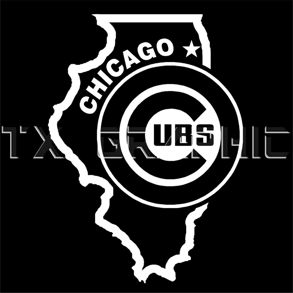 Chicago Decal Cubs Illinois State Map Vinyl Sticker Window