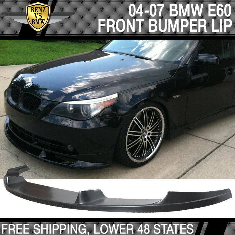 fits 04 05 06 07 bmw e60 h style urethane front bumper lip. Black Bedroom Furniture Sets. Home Design Ideas