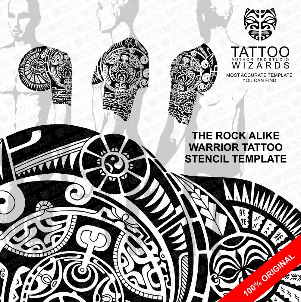 the rock dwayne johnson alike maori polynesian tattoo stencil template ebay. Black Bedroom Furniture Sets. Home Design Ideas