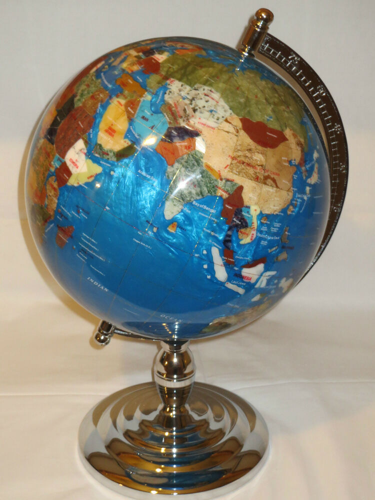 large multi gemstone executive desktop world globe 13 inch