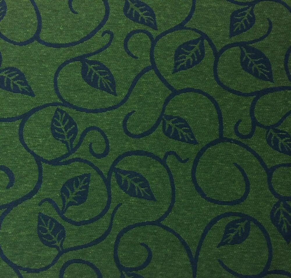 Leaf Vine Caper Green Indigo Blue Heavy Upholstery Fabric