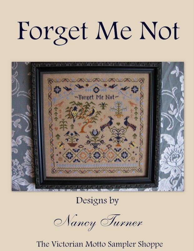 Forget me not antique sampler style cross stitch chart