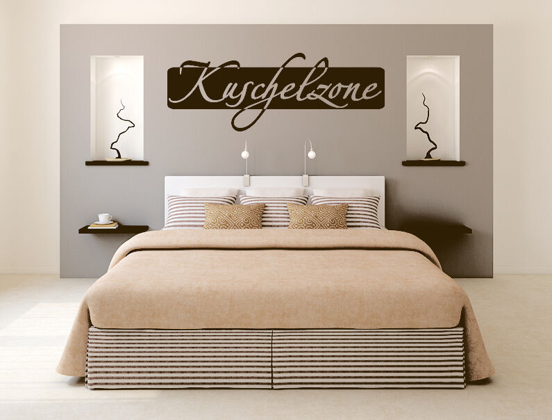kuschelzone wandtattoo aufkleber schlafzimmer spruch wanddeko tx074 ebay. Black Bedroom Furniture Sets. Home Design Ideas