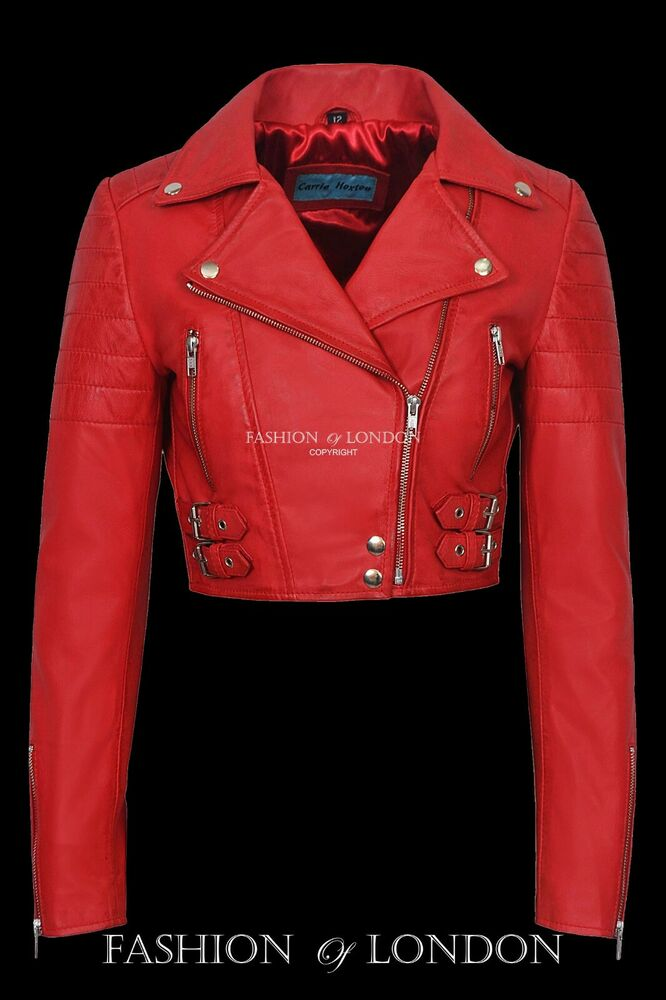 Ladies Vogue Red Cropped Designer Biker Style Real