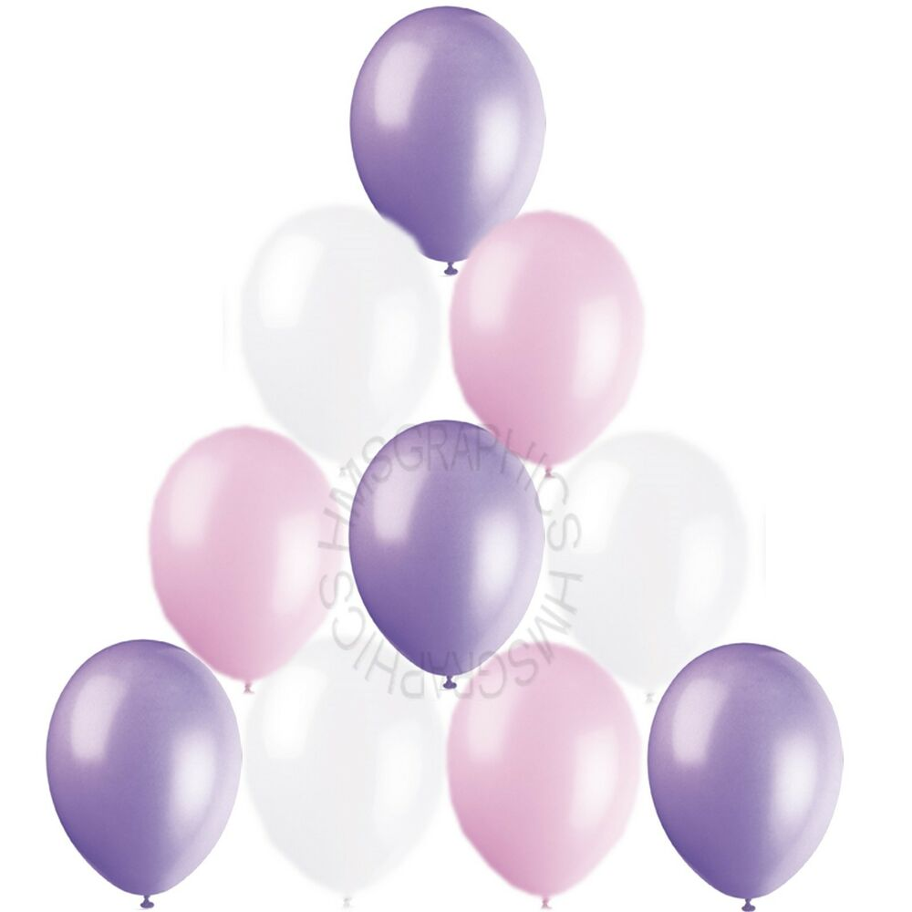 Helium Balloons Baby Shower: 30 Pink Lavender White Helium Balloons Baby Shower