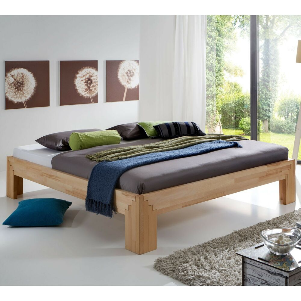 massivholzbett steckbett kernbuche selina 200x200 neu ebay. Black Bedroom Furniture Sets. Home Design Ideas