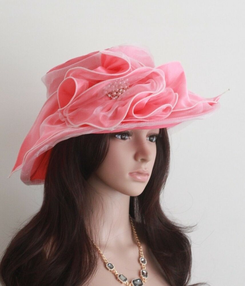 New church kentucky derby wedding organza dress hat pink for Dress hats for weddings