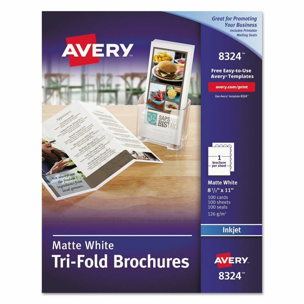 Avery tri fold brochure paper ave8324 ebay for Avery tri fold brochure template