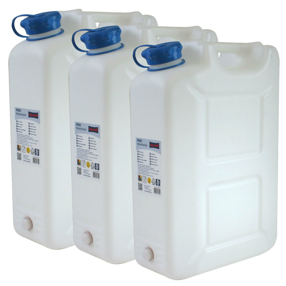 3x wasserkanister profi 20 liter mit hahn neu trinkwasser kanister 2er set 20l ebay. Black Bedroom Furniture Sets. Home Design Ideas