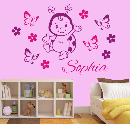 wandtattoo aufkleber kinderzimmer wunschname marienk fer blumen schmetterlinge ebay. Black Bedroom Furniture Sets. Home Design Ideas