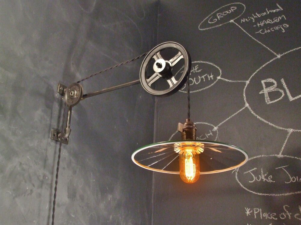 Vintage Industrial Pulley Sconce W Mirrored Reflector Shade Machine Age Li
