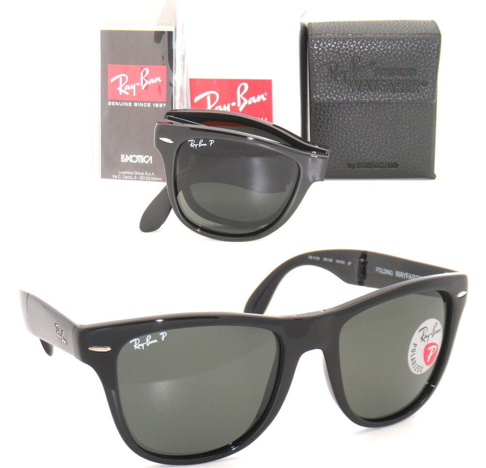 ray ban original wayfarer polarized cpwt  RAY BAN 4105 Folding Wayfarer RB 4105 601/58 54mm Black w/ Green Polarized