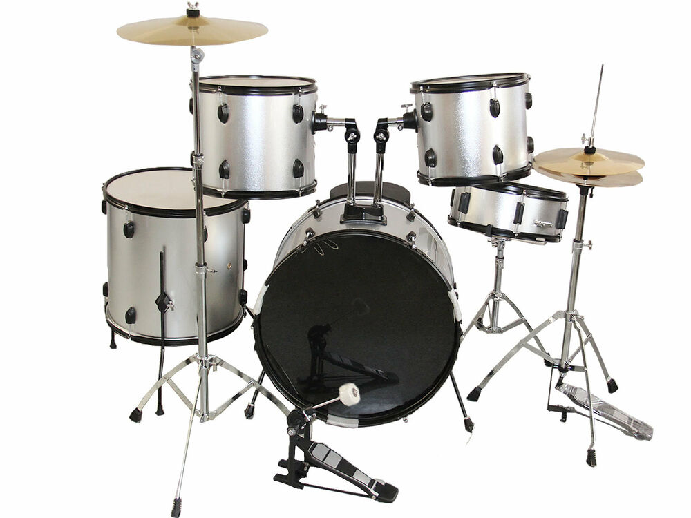 new silver complete 5 piece adult drum set cymbals full size ebay. Black Bedroom Furniture Sets. Home Design Ideas