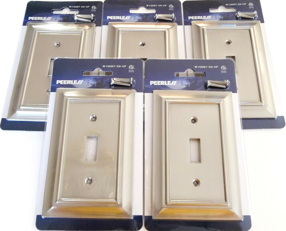 5 Peerless Satin Nickel Wall Switch Plate Cover Light