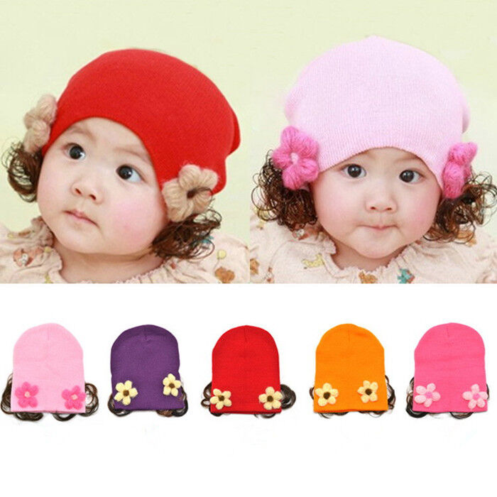 New Cute Baby Girl hats Flower Wig Toddler Infant Kids ...