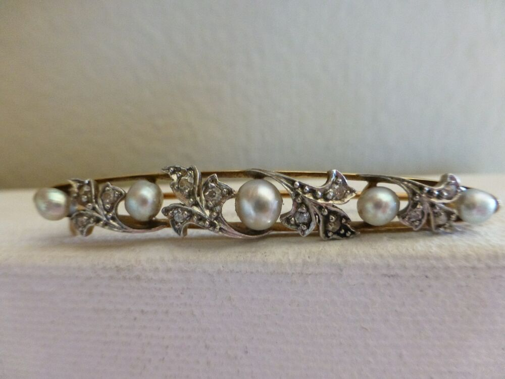 Antique Victorian 14k Yellow Gold Platinum Baroque Pearl