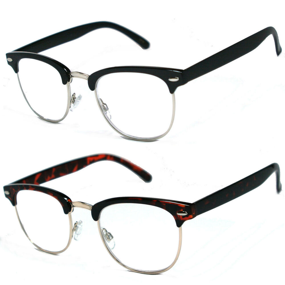 80\'s Vintage Horned Rim Half Frame Clubmaster Clear Lens Reading ...