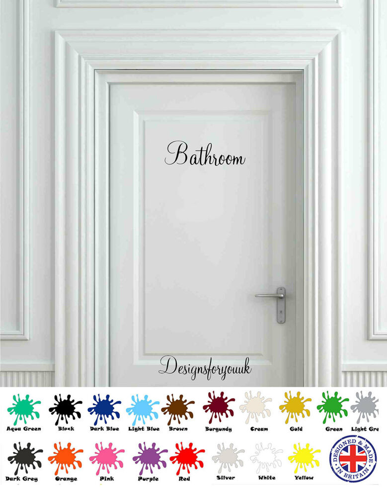 Bathroom Door Stickers : Bathroom door wall art decal vinyl sign sticker