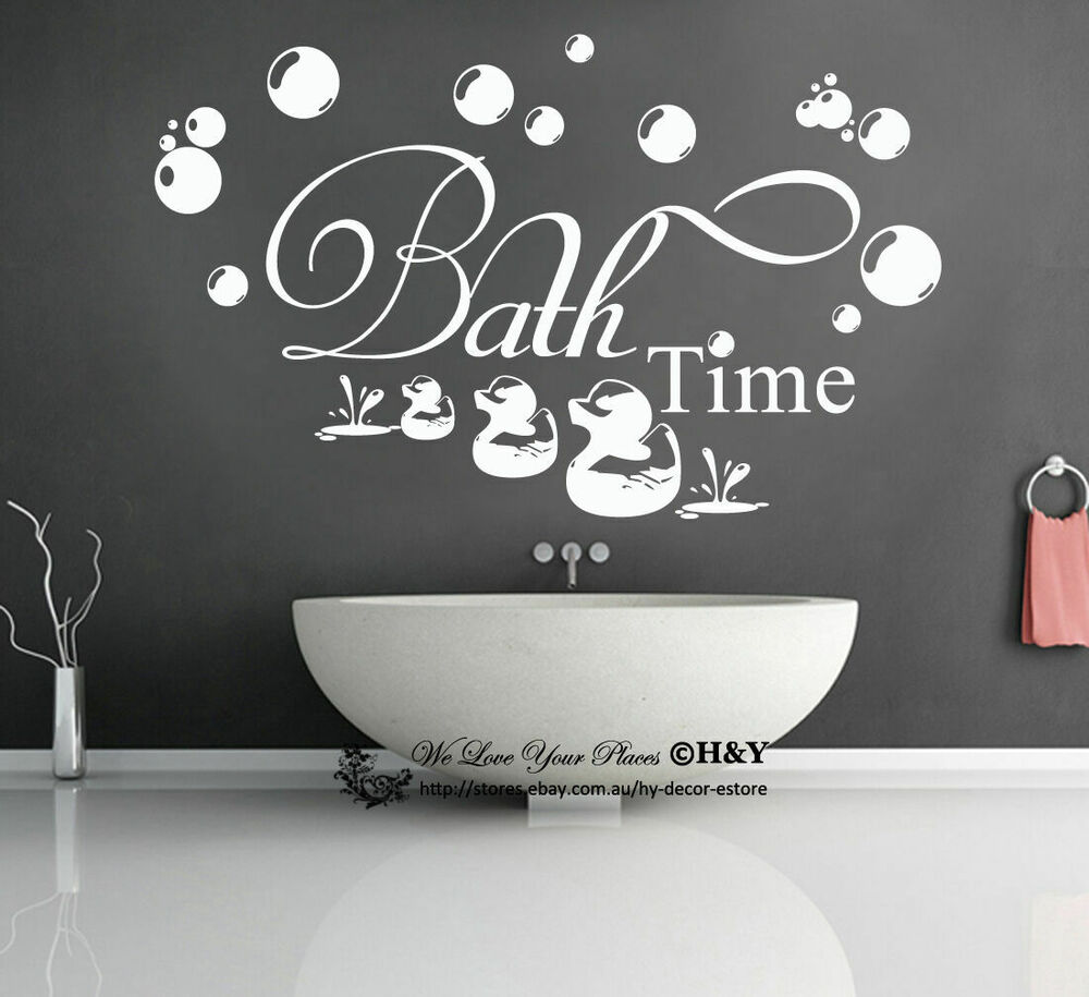 Bath Time Wall Art Quotes Removable Vinyl Wall Stickers ...