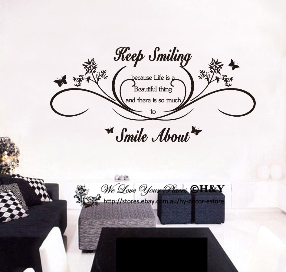Keep Smiling Wall Art Quotes Removable Wall Stickers