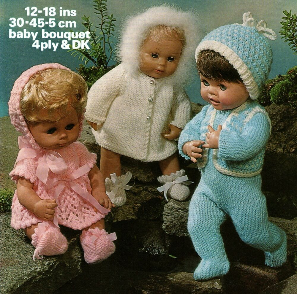 Knitting Patterns For Dolls Clothes 12 Inch : Baby Dolls Clothes Knitting Pattern 12, 14, 16 & 18 inch ...