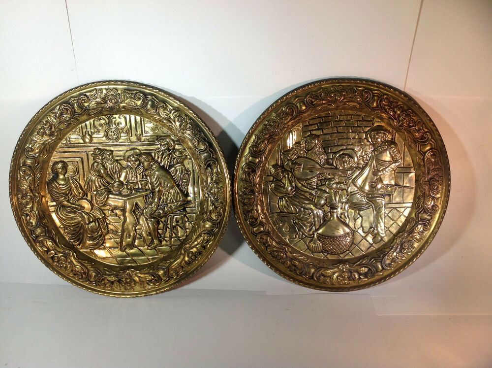 Brass Wall Plates Decor : Vintage pair of decorative brass colonial wall plates