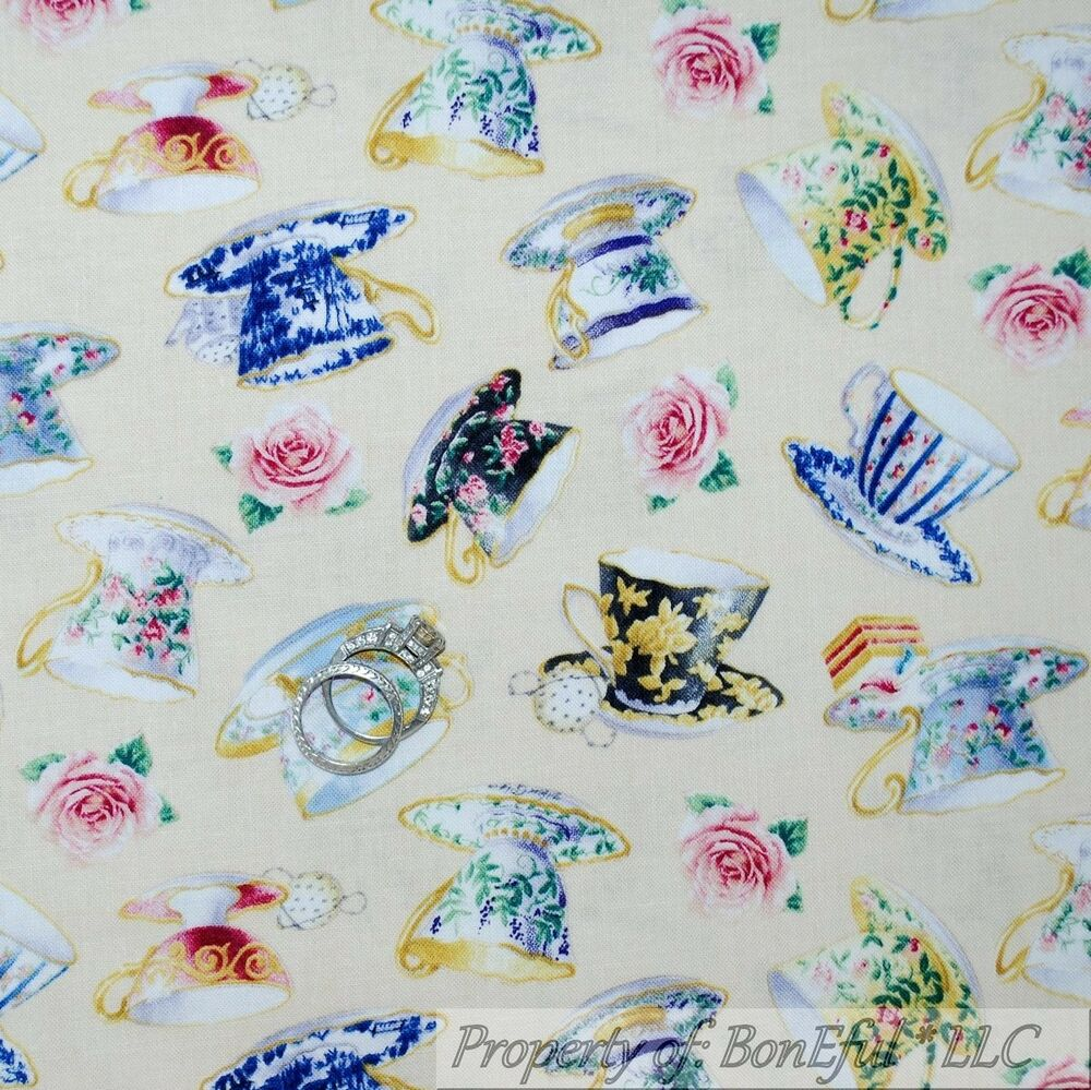 Boneful fabric fq cotton quilt sweet english tea cup room for Victorian floral fabric