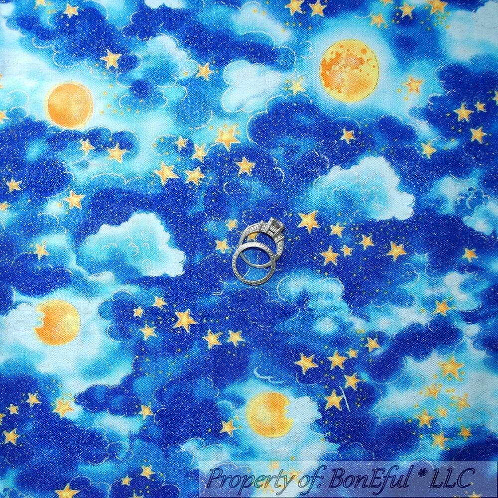 Boneful fabric fq cotton quilt blue yellow gold sky cloud for Sun moon fabric