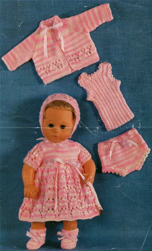 Dolls Clothes Knitting Pattern : 14 inch Baby Dolly : Tiny ...