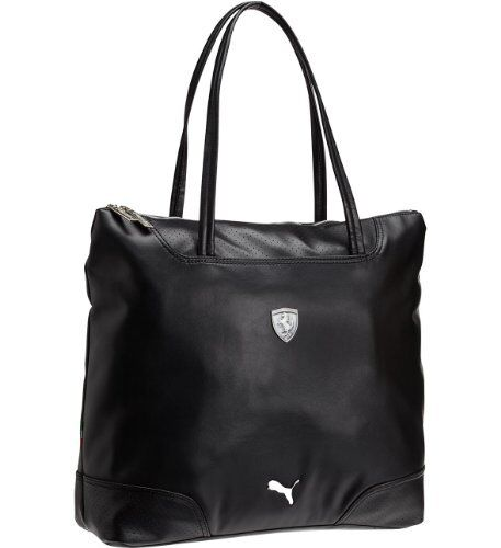 Luxury Mesh Technical Fabric Shopping Bag With A Trendy Look  Is Made Of Forms An Original Contrast With The Two Stylish Leather Handles The Metal Puma And Scuderia Ferrari Logos, Also Seen On The Zippullers, Add A Casual And Sassy Touch