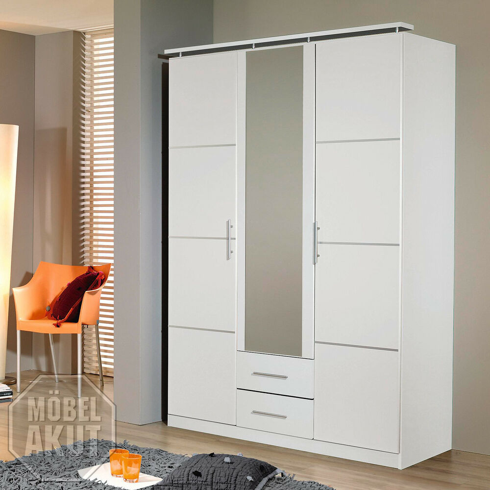 kleiderschrank micro schrank dreht renschrank in wei inkl spiegel 136 cm ebay. Black Bedroom Furniture Sets. Home Design Ideas