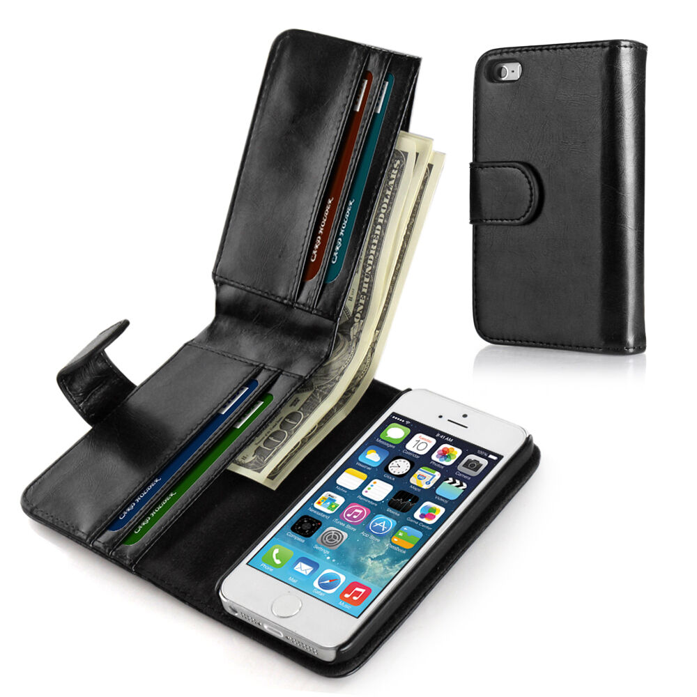 Wallet Flip Pouch Card Holder PU Leather Case Cover For