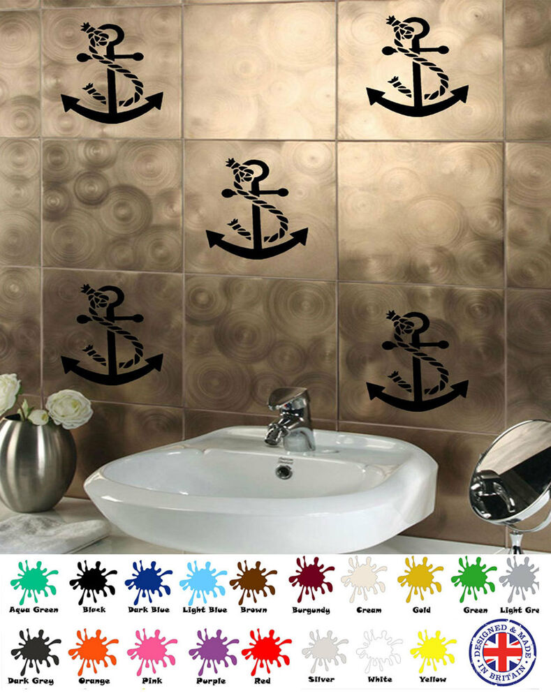 tile stickers bathroom anchor stickers x6 vinyl wall sticker for tiles 14703 | s l1000