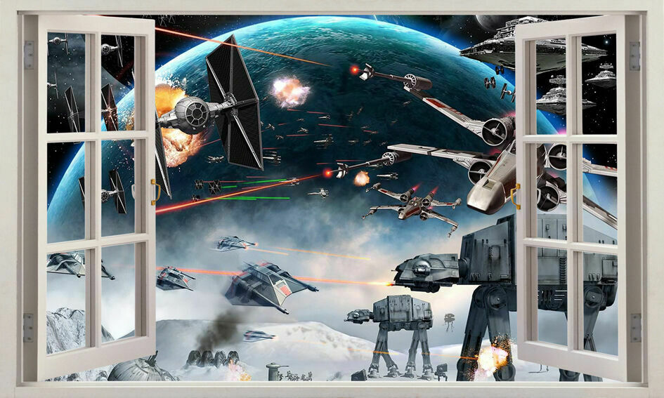 3D Star Wars Window View Removable Wall Sticker Boys