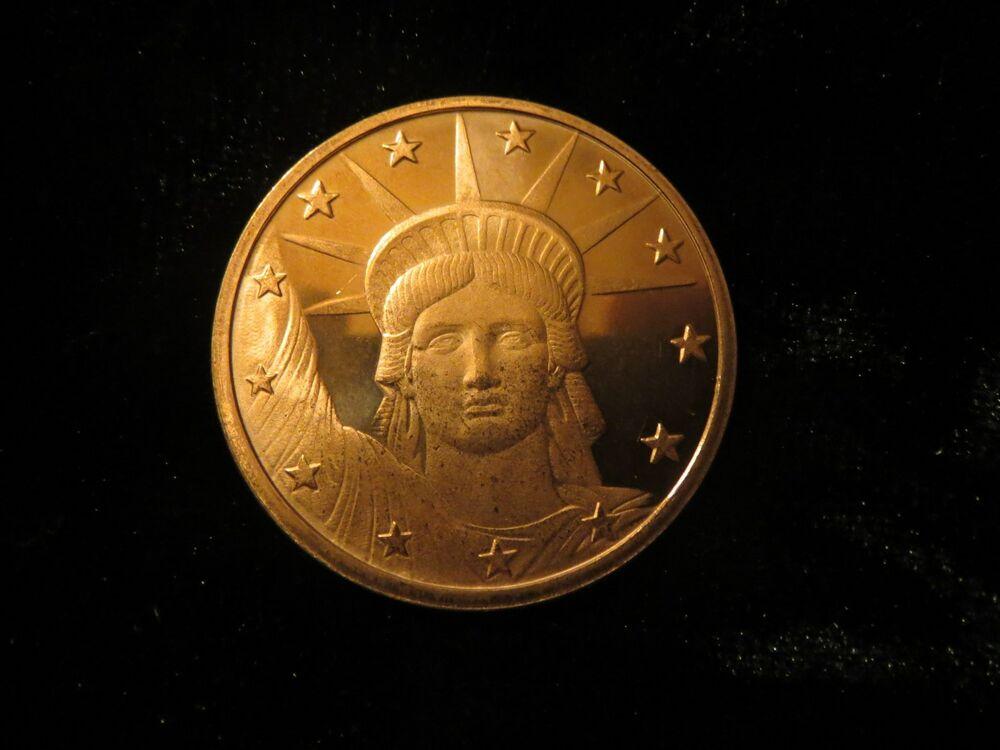 Statue Of Lady Liberty 1 Oz Copper Bullion Coin Not Scrap